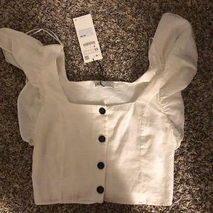 Zara Ruffle Button Up Top